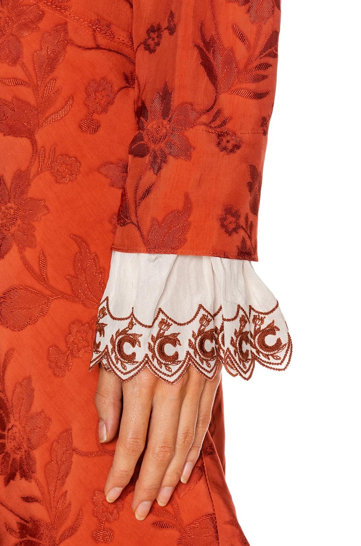 Image 5 of Chloe Long Sleeve Mini Dress in Burnt Ochre