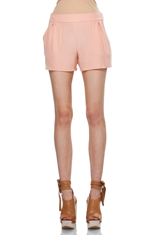 Image 1 of Chloe Silk Shorts in Peach