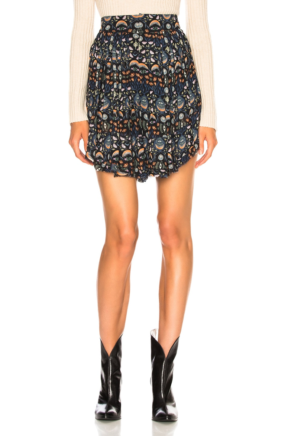 Image 1 of Chloe Blossom Print Viscose Georgette Flowy Shorts in Blue & Orange