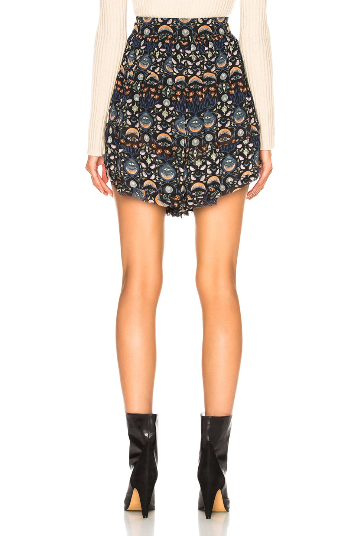 Image 3 of Chloe Blossom Print Viscose Georgette Flowy Shorts in Blue & Orange
