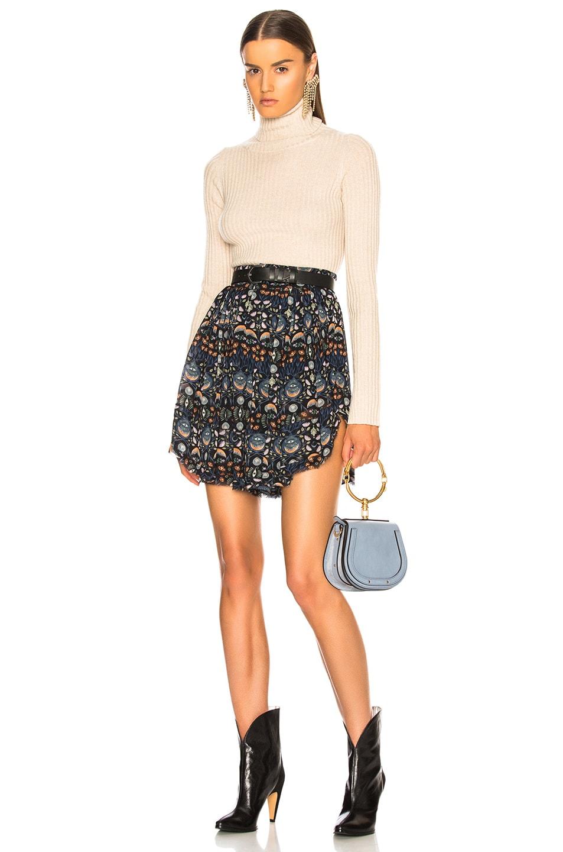 Image 4 of Chloe Blossom Print Viscose Georgette Flowy Shorts in Blue & Orange