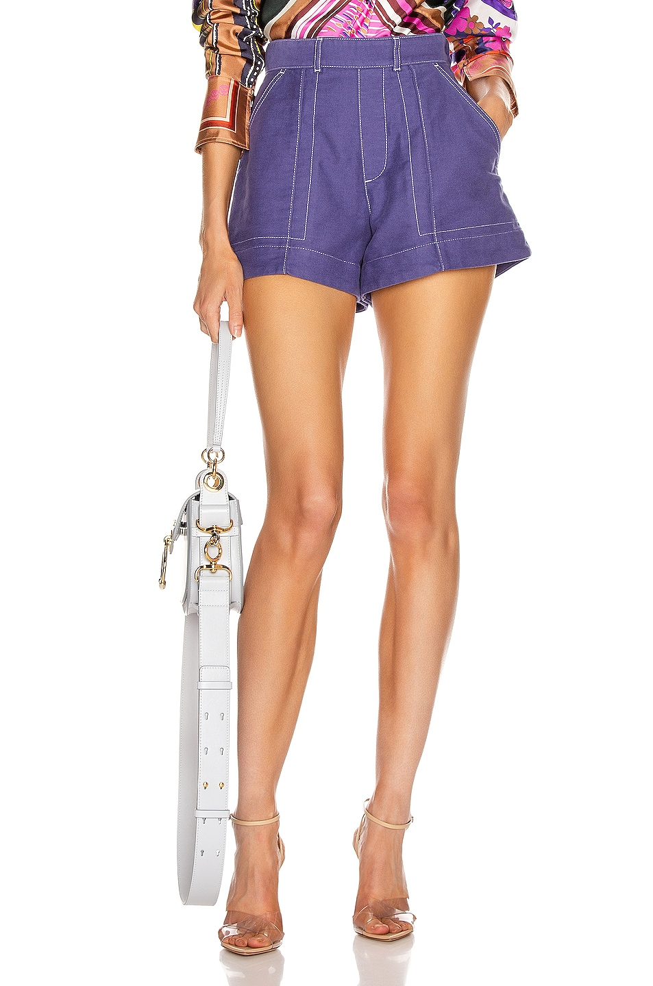 Image 1 of Chloe Tailored Short in Lilac Navy