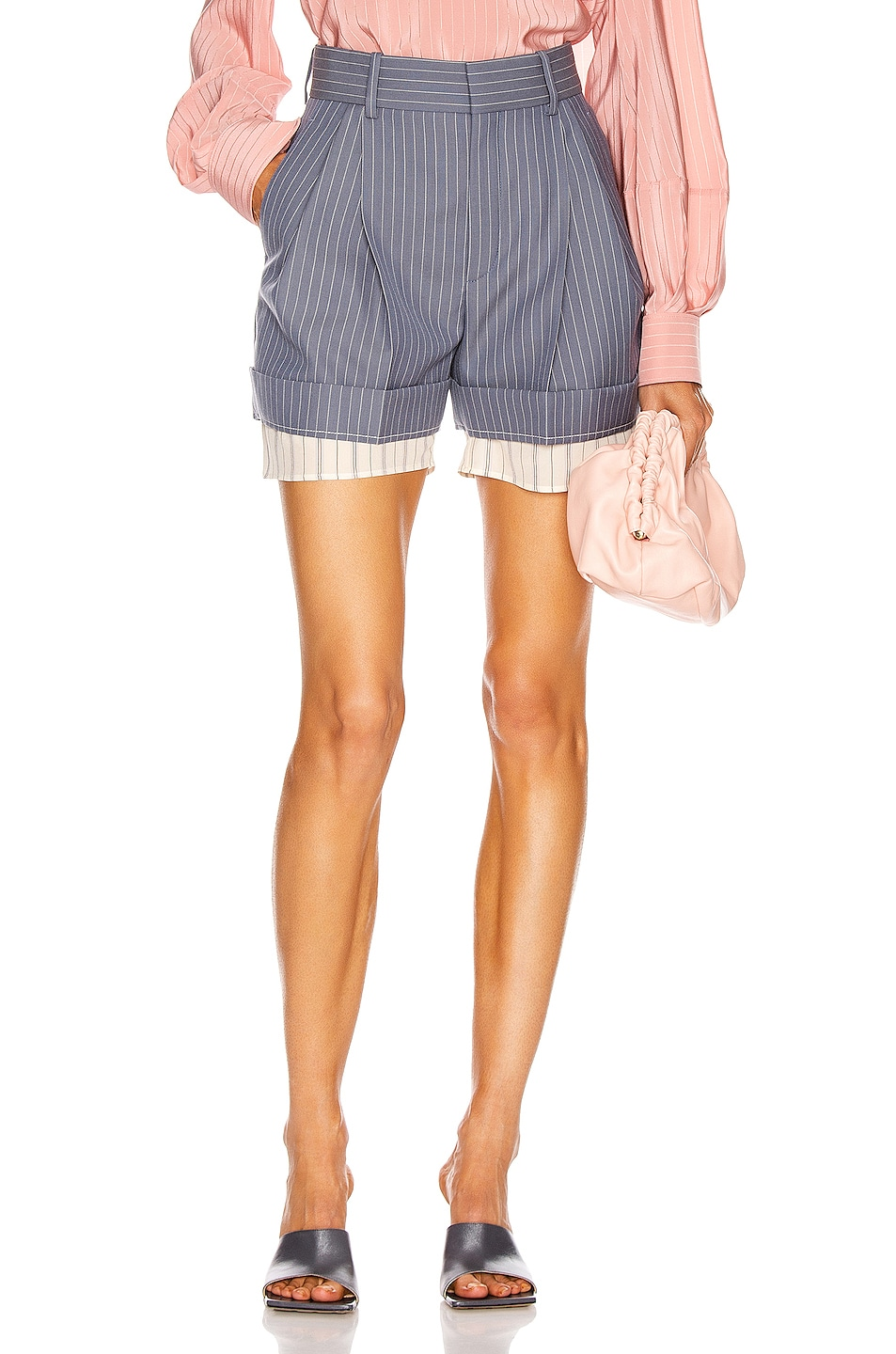 Image 1 of Chloe Pinstripe Tailored Short in Stormy Blue