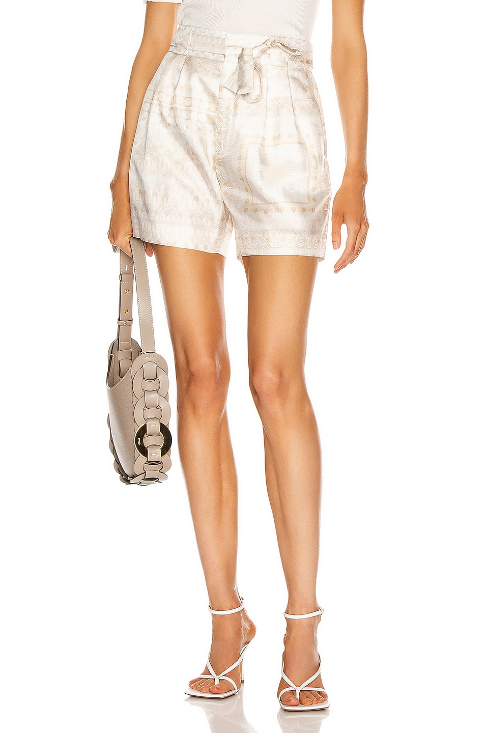 Image 1 of Chloe Mosaic Tie Short in Multicolor White