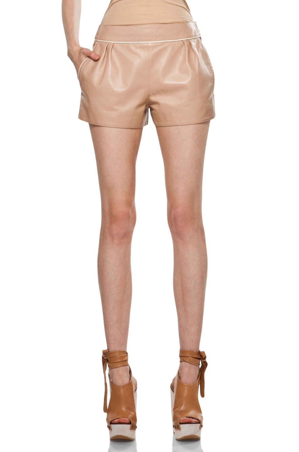 Image 1 of Chloe Leather Shorts in Camel
