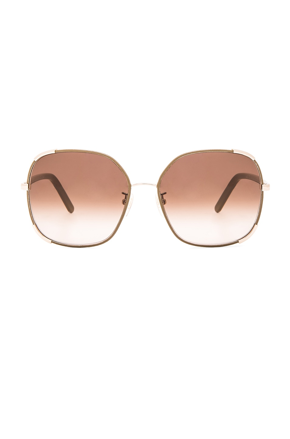 Image 1 of Chloe Square Nerine Sunglasses in Gold & Khaki