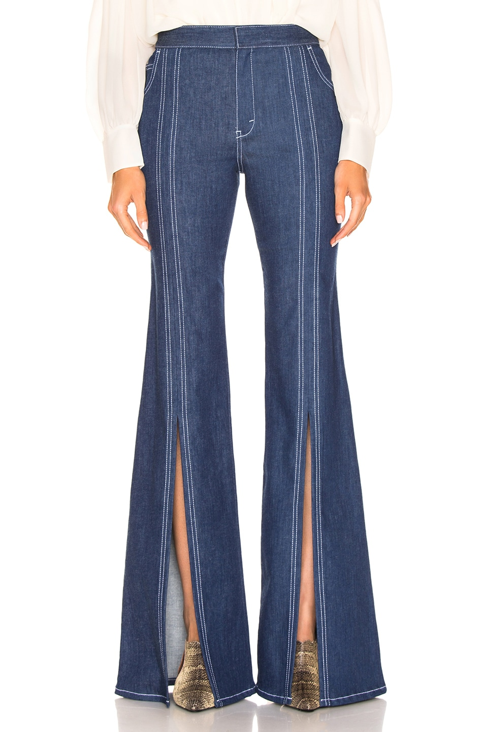 Image 1 of Chloe Flare Jean in Denim Blue