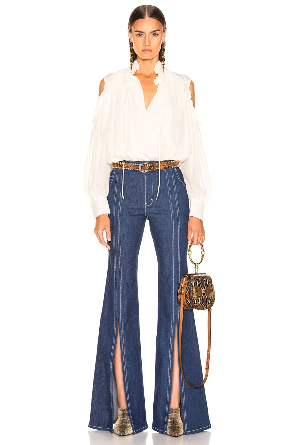 Image 4 of Chloe Flare Jean in Denim Blue