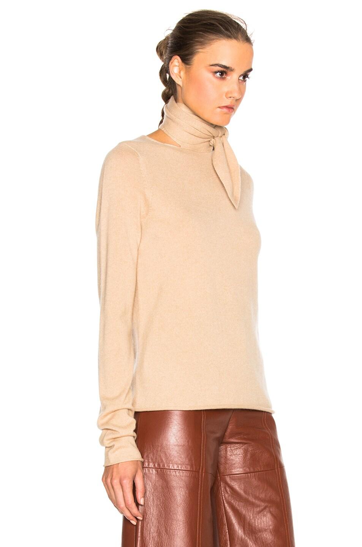 Image 3 of Chloe Tie Neck Sweater in Havana Brown