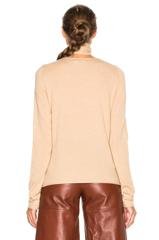 Image 4 of Chloe Tie Neck Sweater in Havana Brown