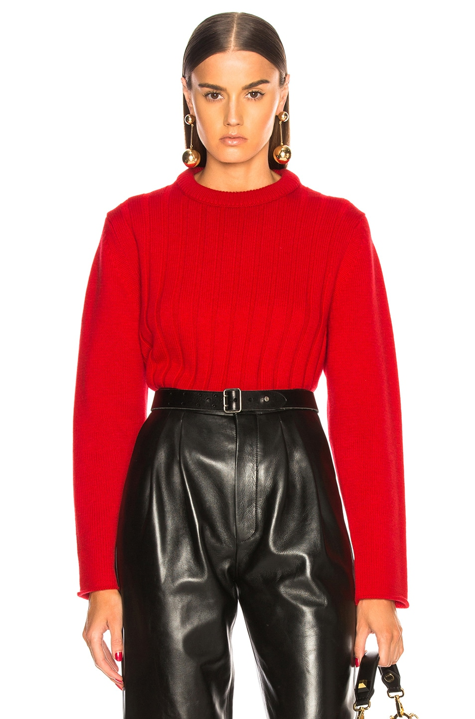 Image 1 of Chloe Iconic Cashmere Crewneck Sweater in Earthy Red