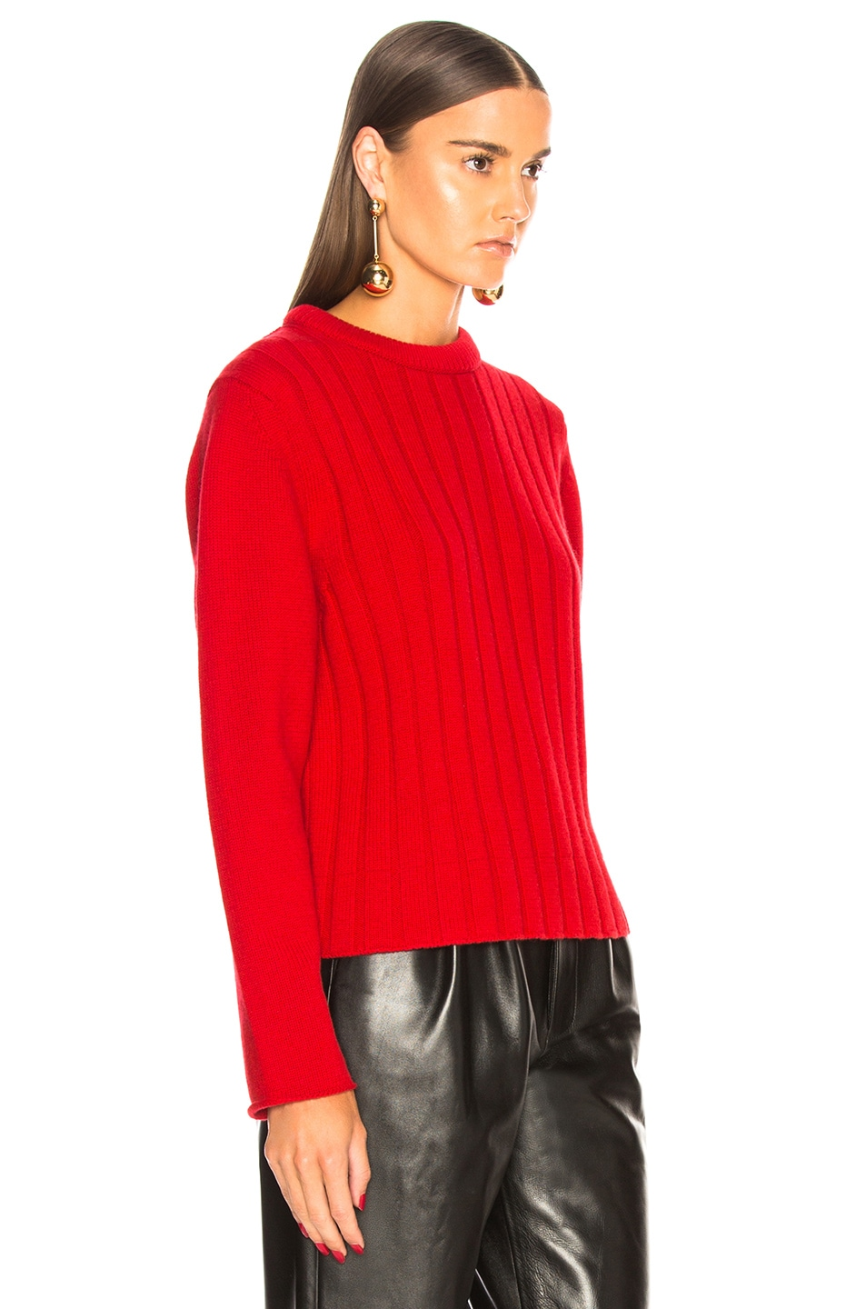 Image 3 of Chloe Iconic Cashmere Crewneck Sweater in Earthy Red