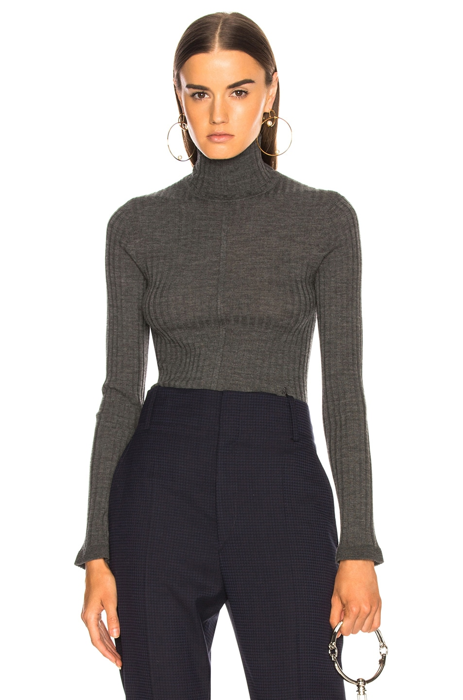 Image 1 of Chloe Fine Rib Wool Knit Turtleneck Sweater in Pearly Black