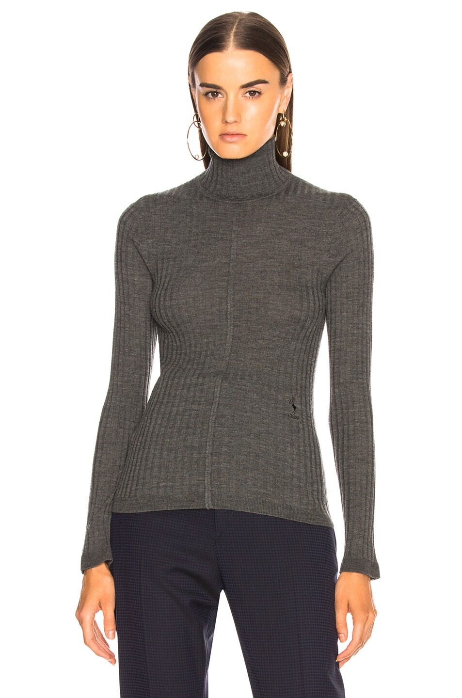 Image 2 of Chloe Fine Rib Wool Knit Turtleneck Sweater in Pearly Black