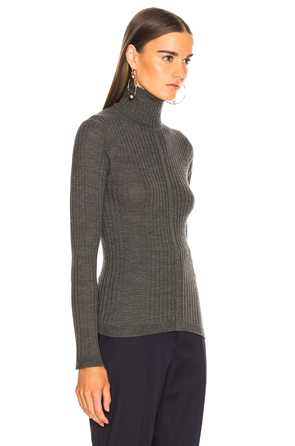 Image 3 of Chloe Fine Rib Wool Knit Turtleneck Sweater in Pearly Black