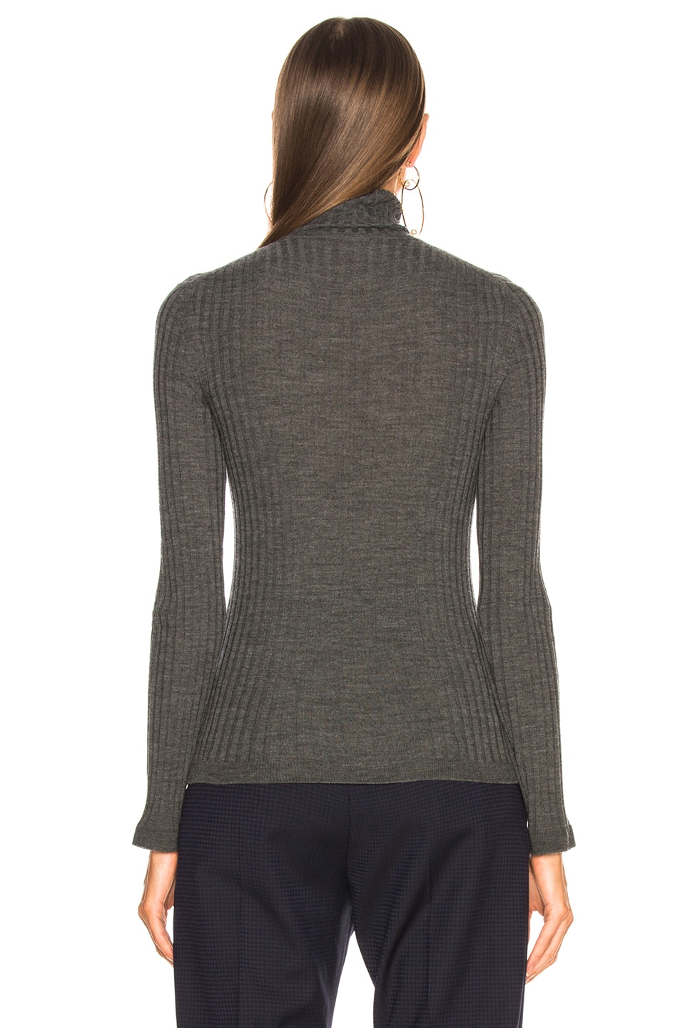 Image 5 of Chloe Fine Rib Wool Knit Turtleneck Sweater in Pearly Black