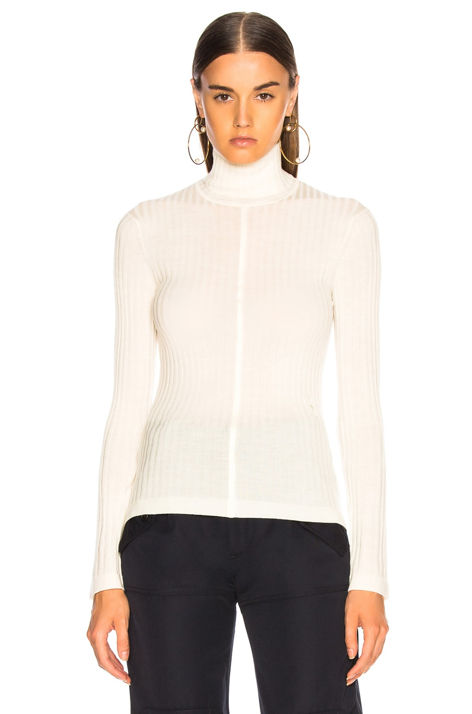 Image 1 of Chloe Fine Rib Wool Knit Turtleneck Sweater in Iconic Milk