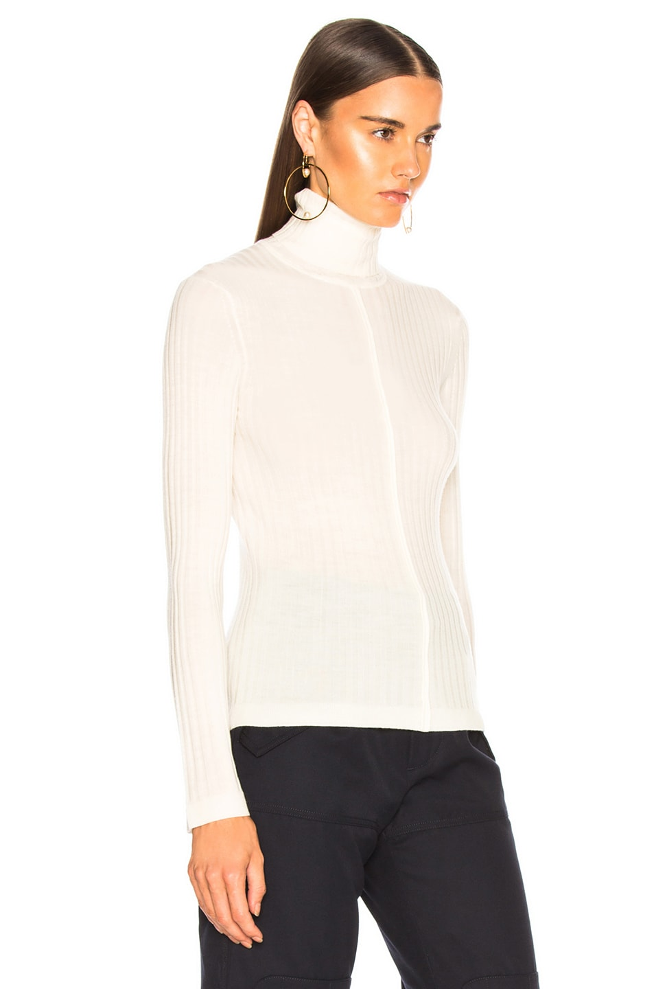 Image 2 of Chloe Fine Rib Wool Knit Turtleneck Sweater in Iconic Milk