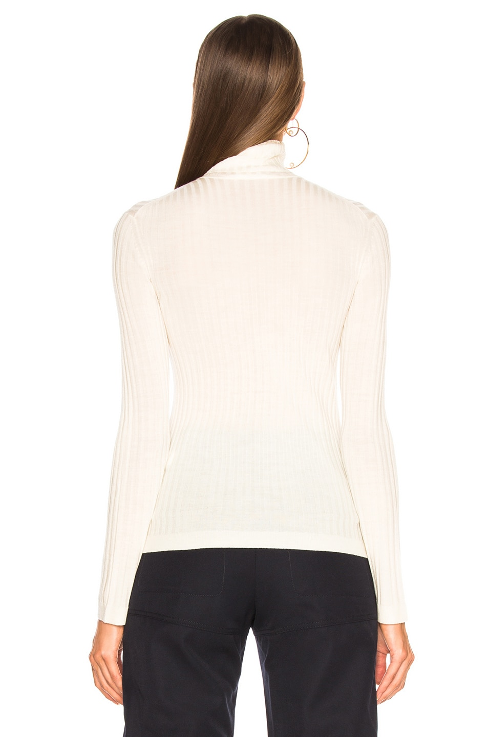 Image 3 of Chloe Fine Rib Wool Knit Turtleneck Sweater in Iconic Milk