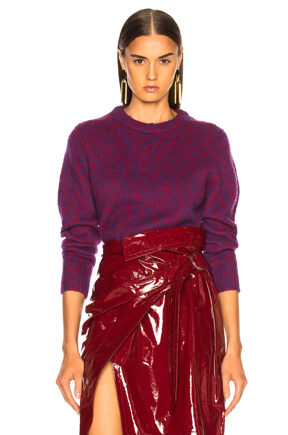 Image 1 of Chloe Brushed Bicolor Wool Cashmere Knit Crewneck Sweater in Blue & Red