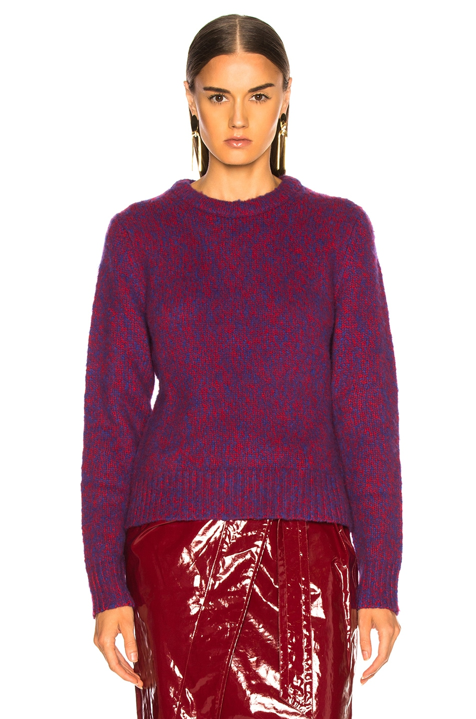 Image 2 of Chloe Brushed Bicolor Wool Cashmere Knit Crewneck Sweater in Blue & Red