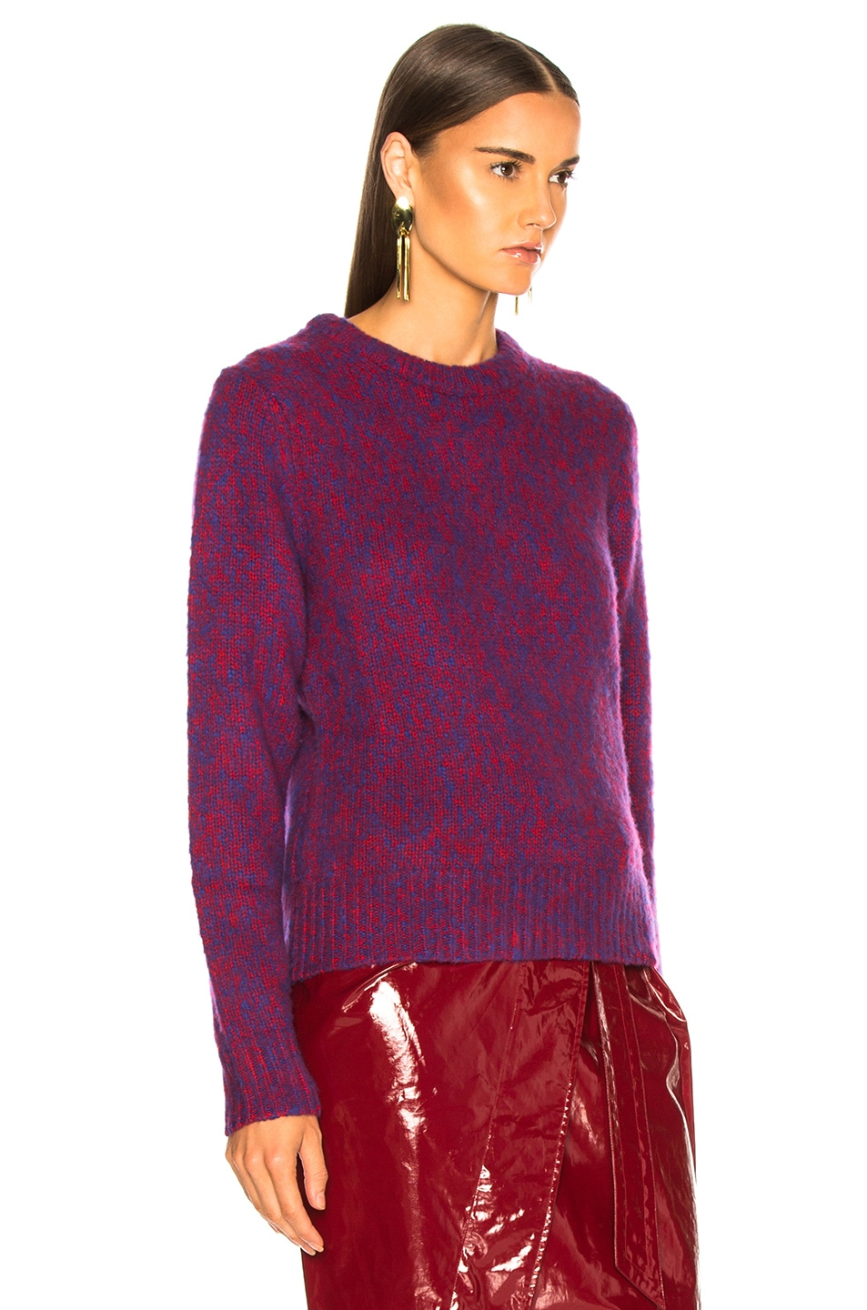 Image 3 of Chloe Brushed Bicolor Wool Cashmere Knit Crewneck Sweater in Blue & Red