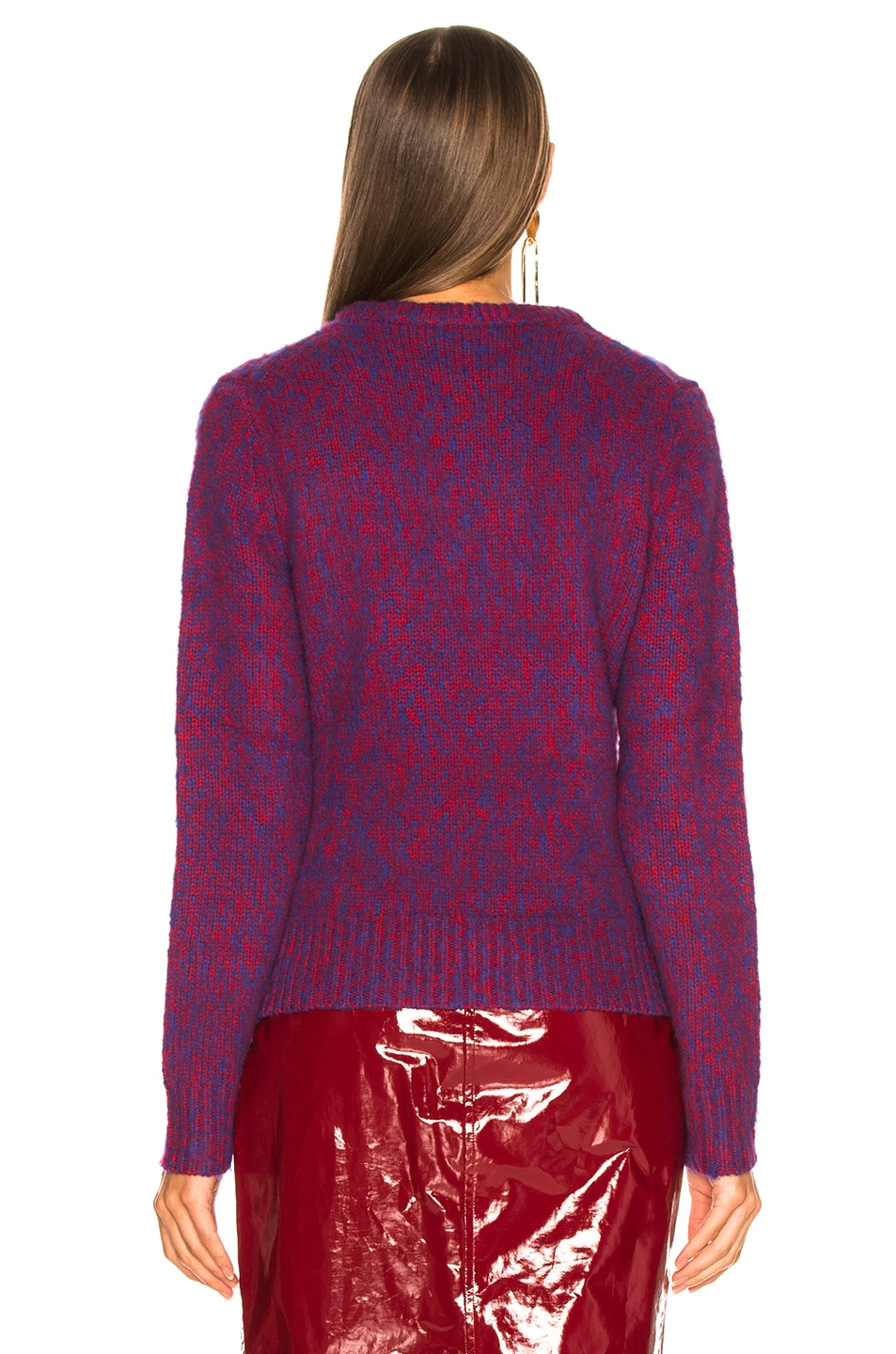 Image 4 of Chloe Brushed Bicolor Wool Cashmere Knit Crewneck Sweater in Blue & Red