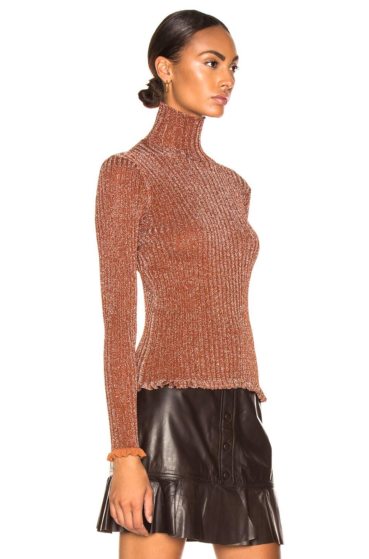 Image 2 of Chloe Ribbed Turtleneck Sweater in Crimson Brown