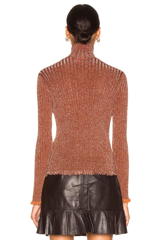 Image 3 of Chloe Ribbed Turtleneck Sweater in Crimson Brown