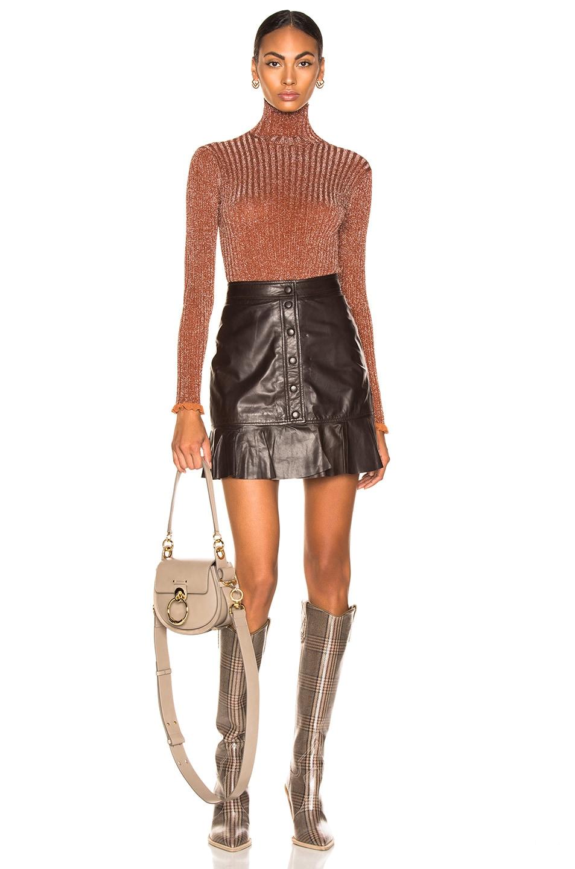Image 4 of Chloe Ribbed Turtleneck Sweater in Crimson Brown