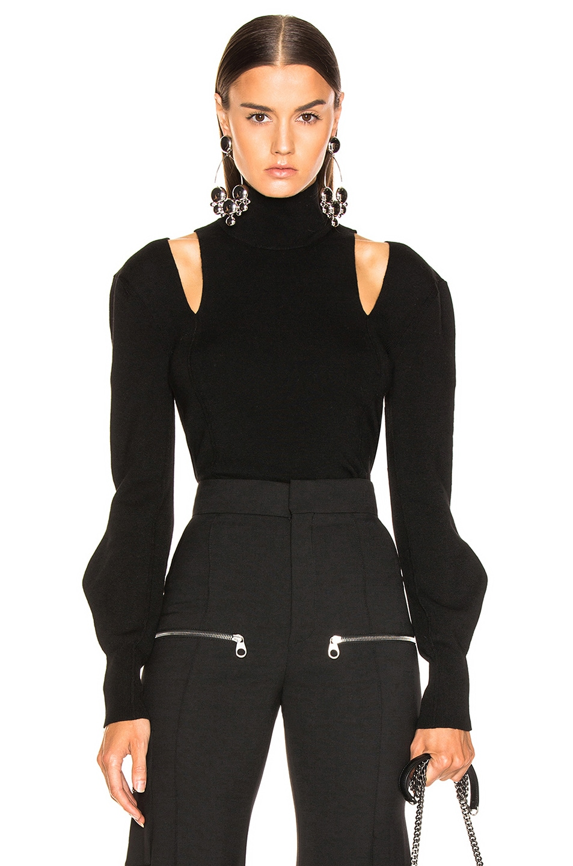 Image 1 of Chloe Shoulder Cutout Turtleneck Sweater in Black