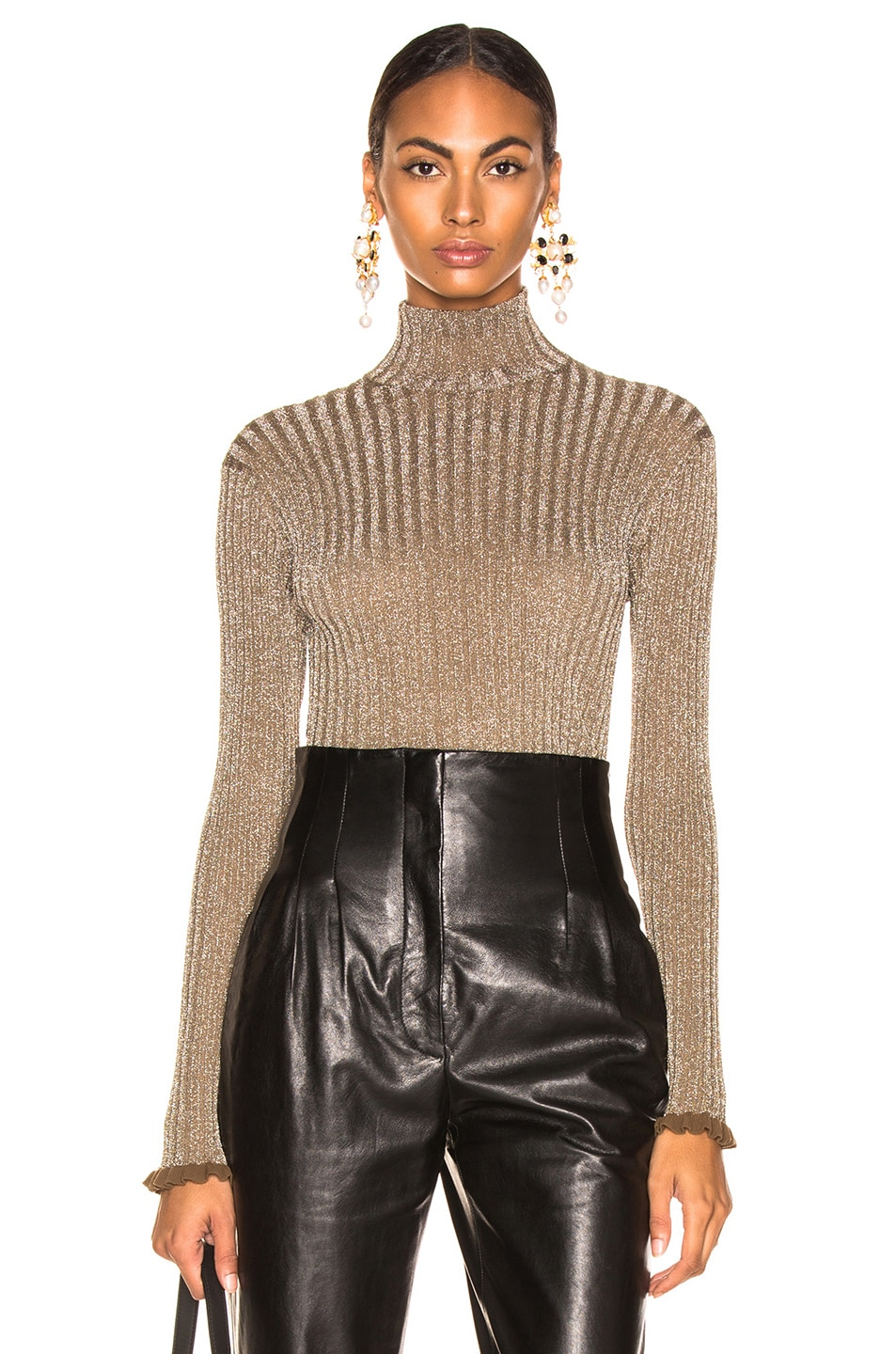 Image 1 of Chloe Ribbed Turtleneck Sweater in Boyish Khaki
