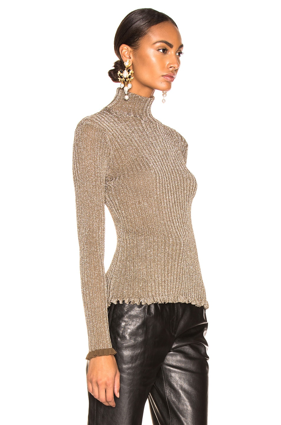 Image 2 of Chloe Ribbed Turtleneck Sweater in Boyish Khaki