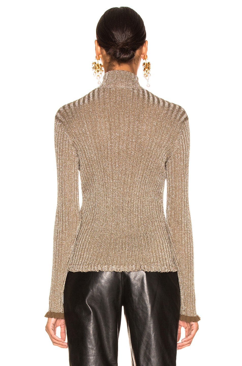Image 3 of Chloe Ribbed Turtleneck Sweater in Boyish Khaki