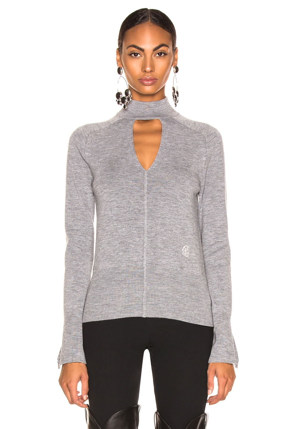 Image 2 of Chloe Cutout Choker Sweater in Confident Grey