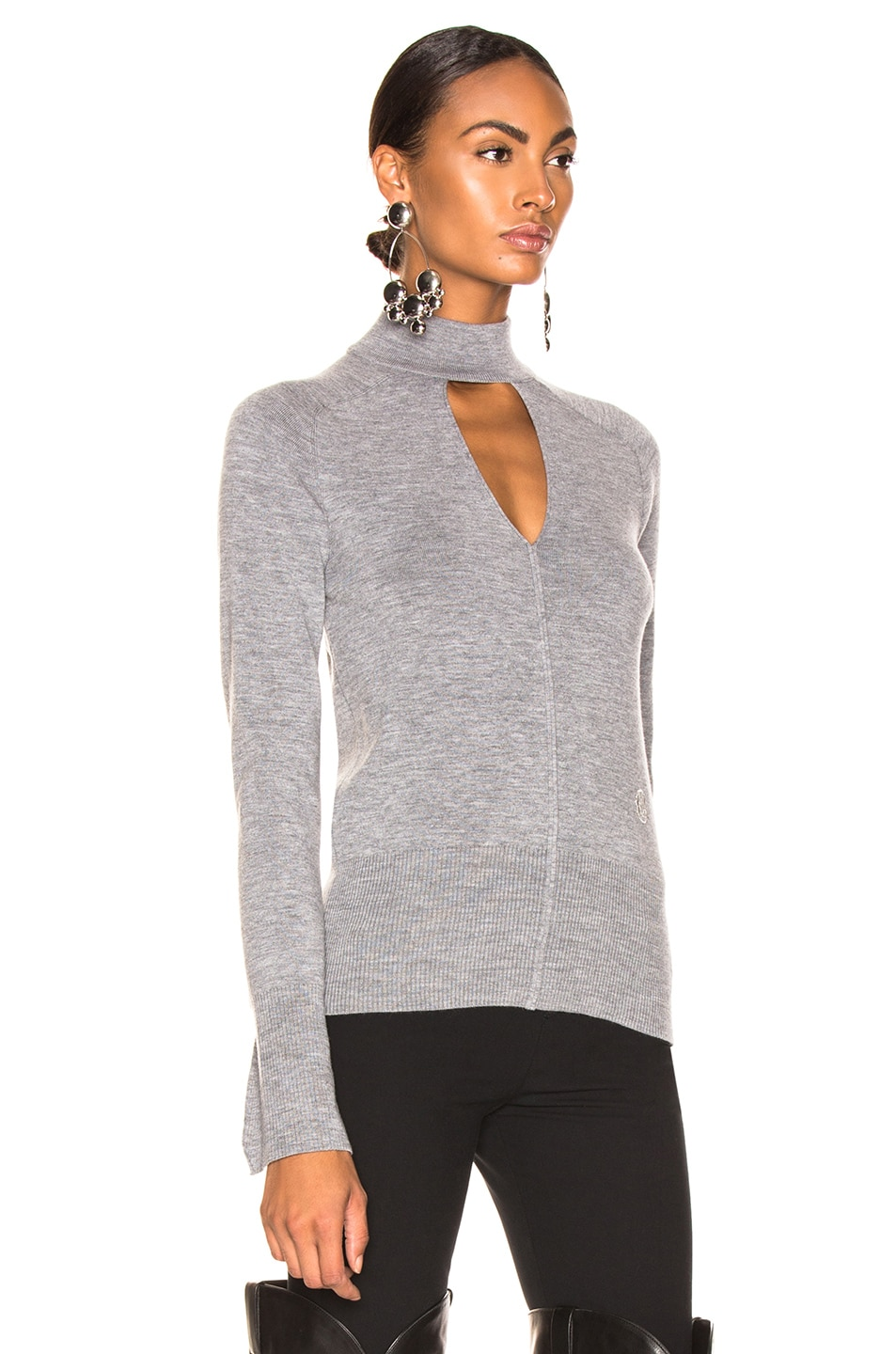 Image 3 of Chloe Cutout Choker Sweater in Confident Grey