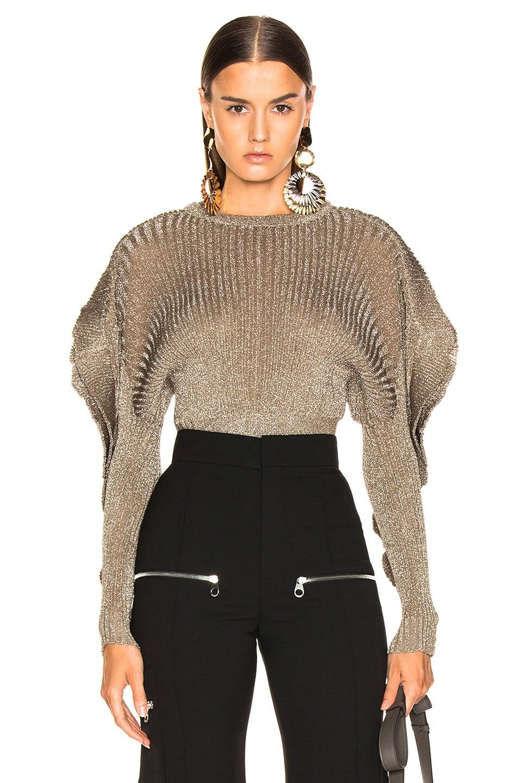 Image 1 of Chloe Ruffle Trim Ribbed Sweater in Boyish Khaki