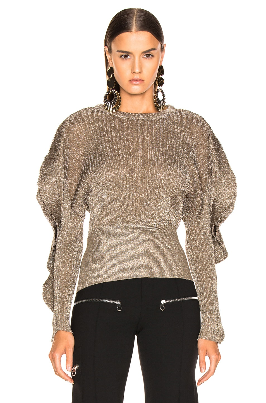 Image 2 of Chloe Ruffle Trim Ribbed Sweater in Boyish Khaki