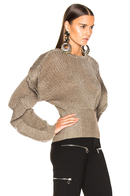 Image 3 of Chloe Ruffle Trim Ribbed Sweater in Boyish Khaki