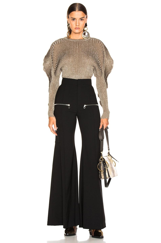 Image 5 of Chloe Ruffle Trim Ribbed Sweater in Boyish Khaki