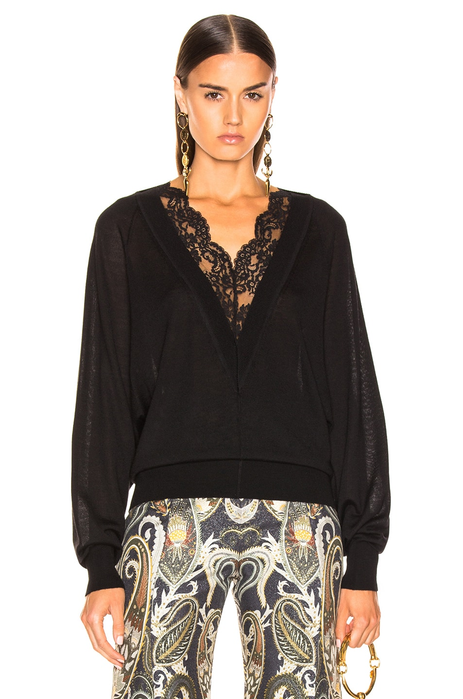 Image 1 of Chloe Lace Sweater in Black