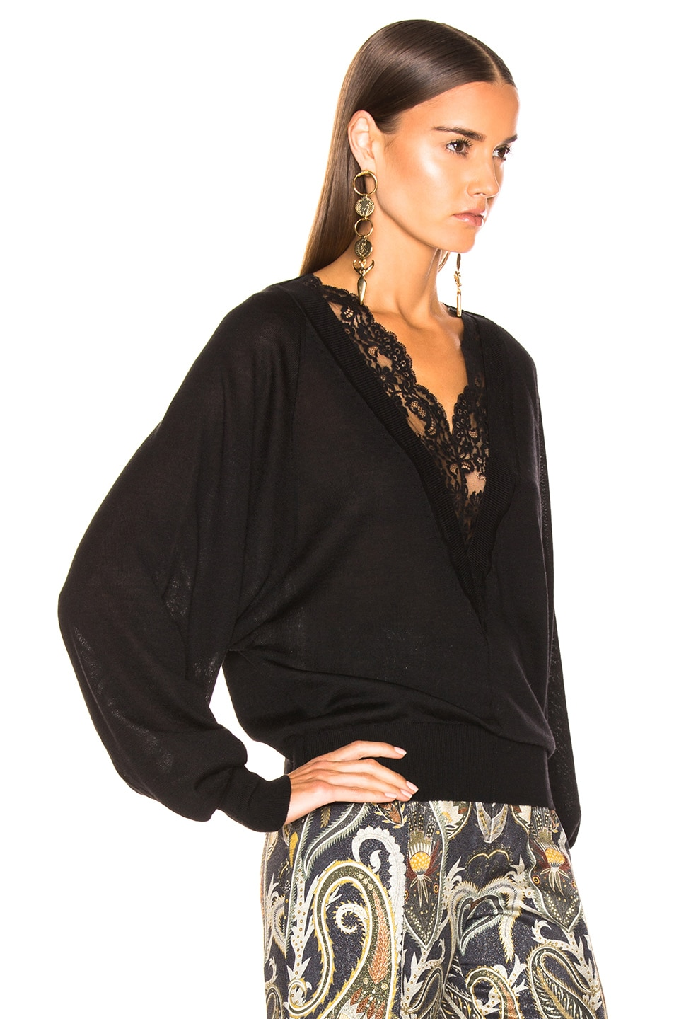 Image 2 of Chloe Lace Sweater in Black