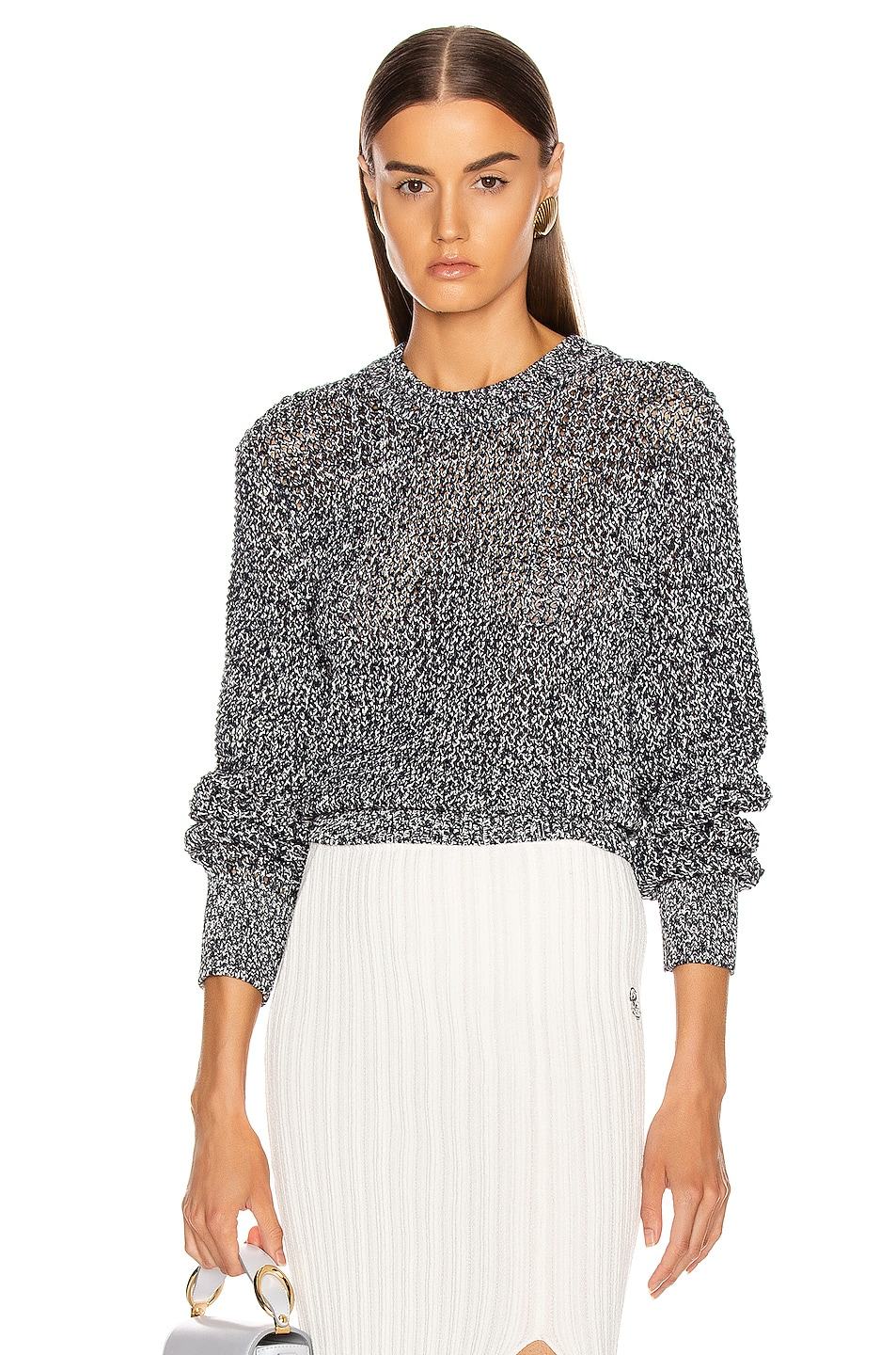 Image 1 of Chloe Banded Sweater in White & Blue