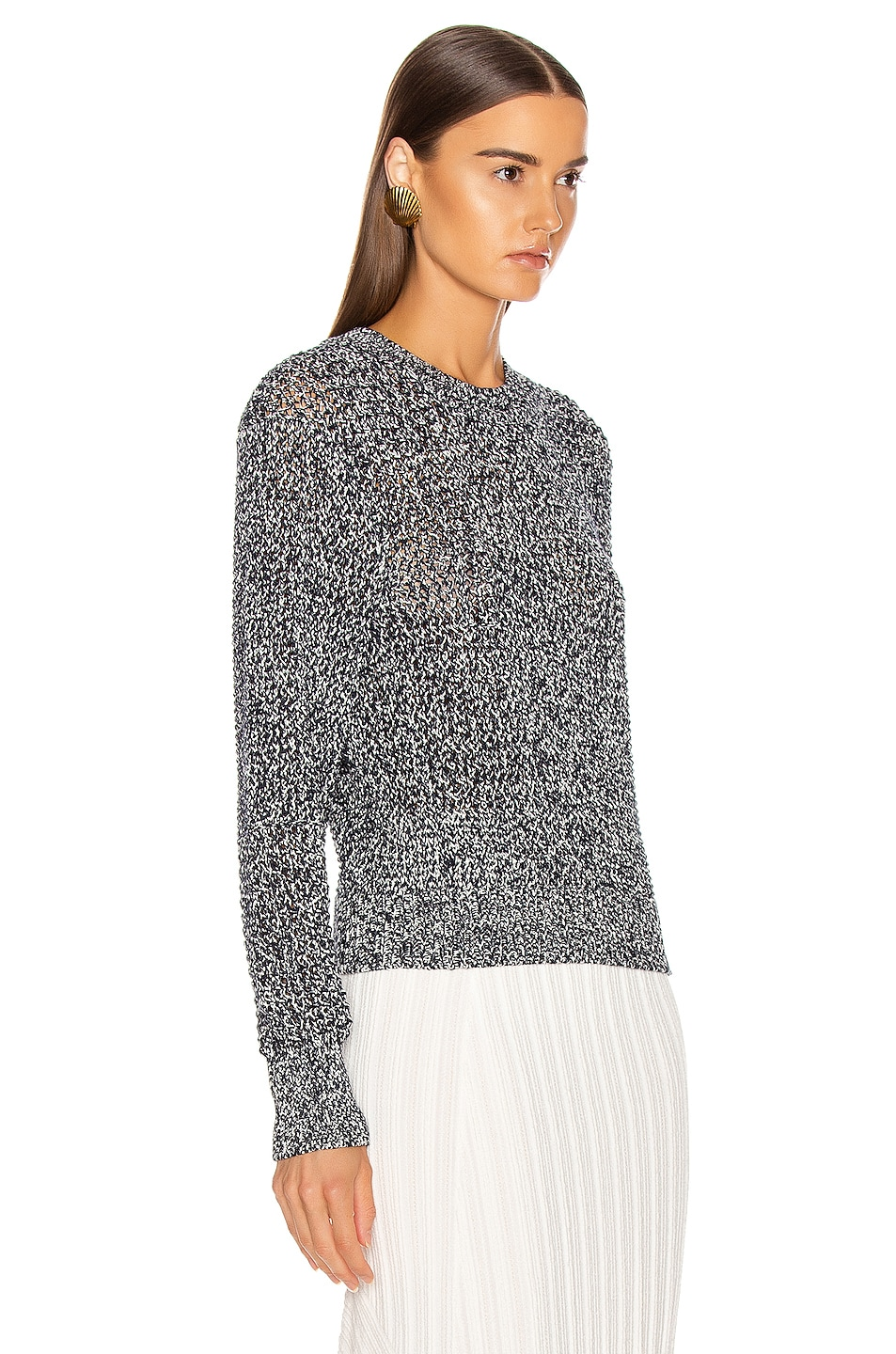 Image 2 of Chloe Banded Sweater in White & Blue