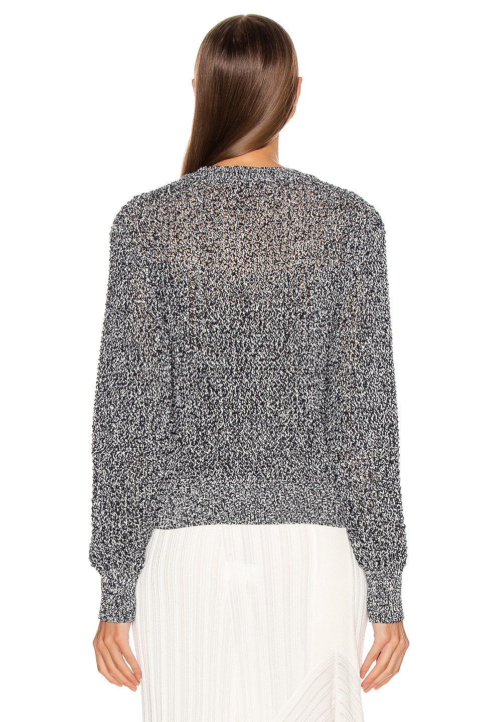 Image 3 of Chloe Banded Sweater in White & Blue