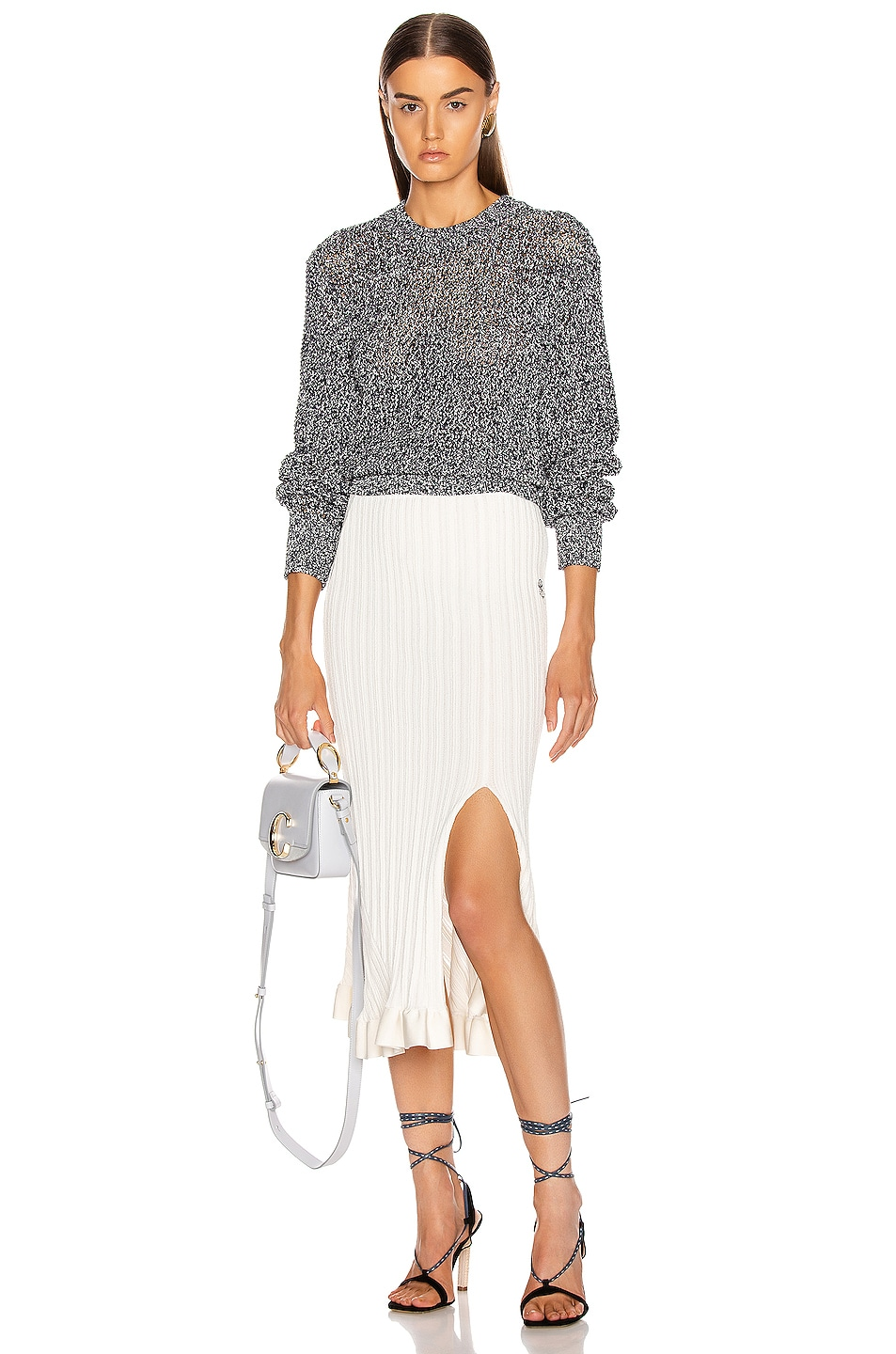 Image 4 of Chloe Banded Sweater in White & Blue