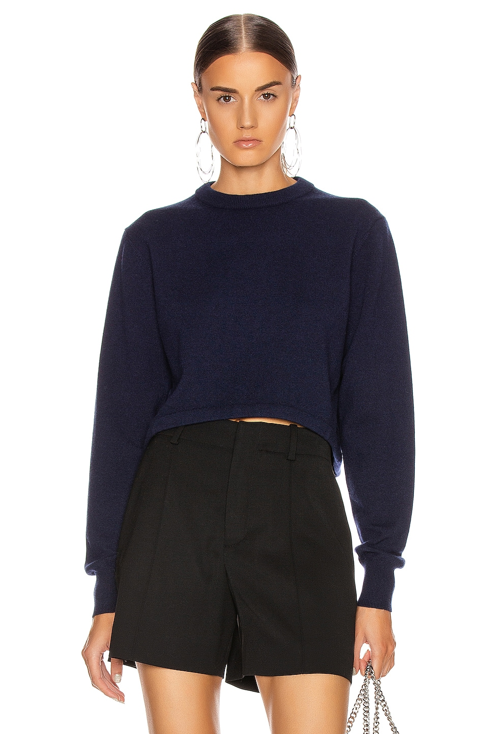 Image 1 of Chloe Crop Tie Back Sweater in Evening Blue