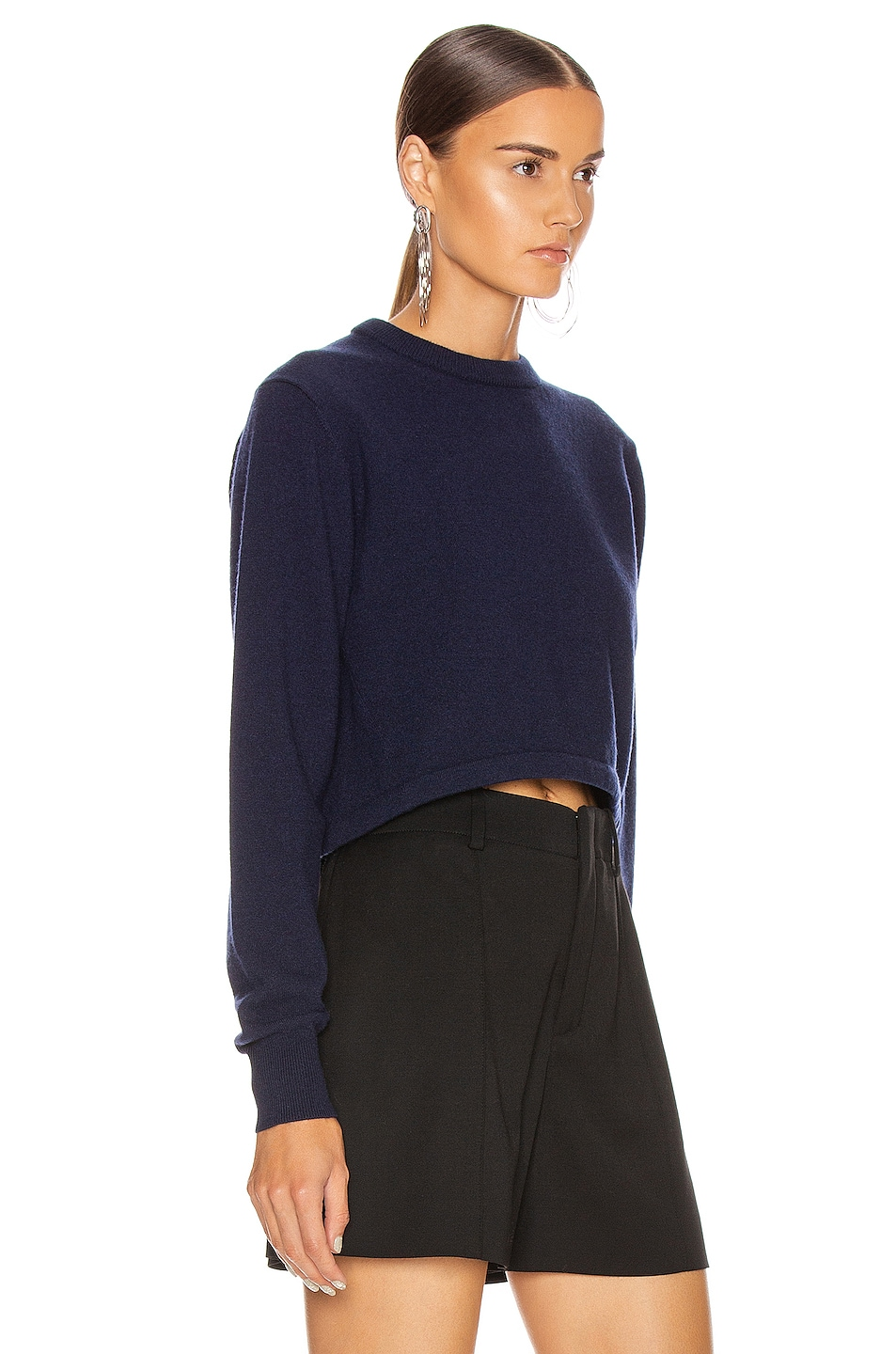 Image 2 of Chloe Crop Tie Back Sweater in Evening Blue