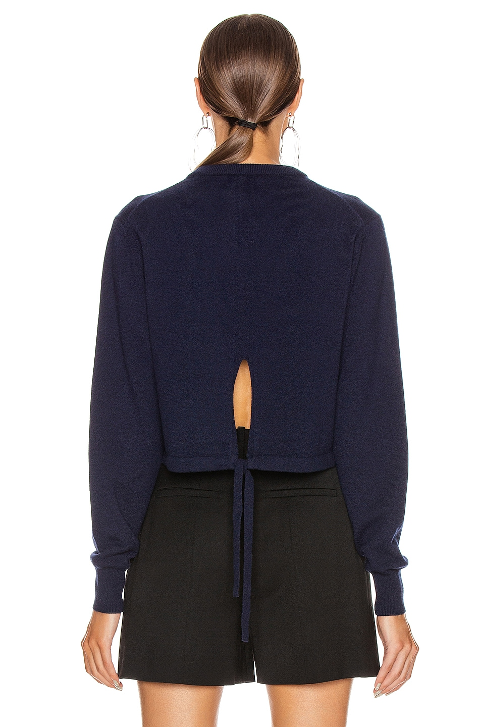 Image 3 of Chloe Crop Tie Back Sweater in Evening Blue