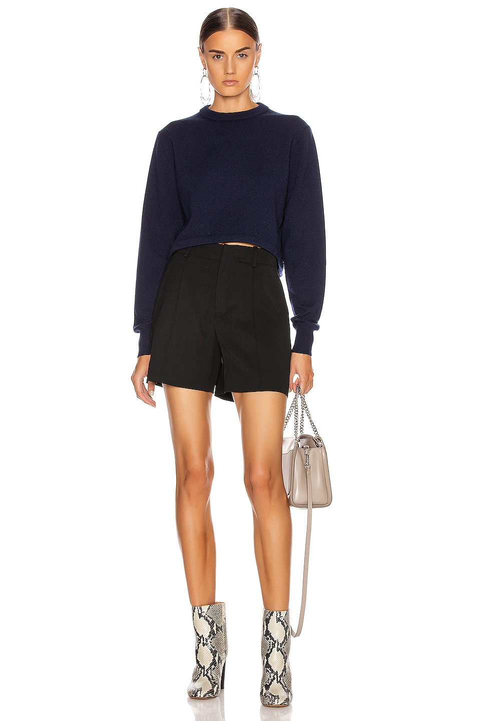 Image 4 of Chloe Crop Tie Back Sweater in Evening Blue